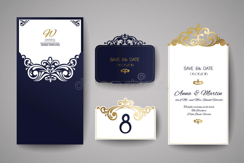 Bröllopinbjudan- eller hälsningkort med den guld- blom- prydnaden Bröllopinbjudankuvert för laser-klipp royaltyfri illustrationer