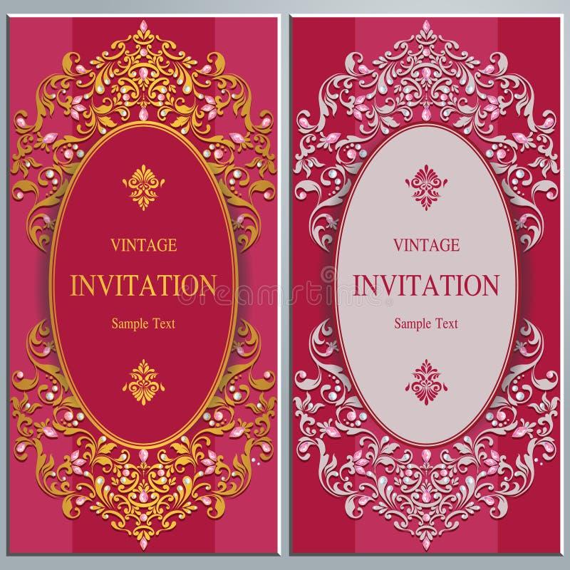 Bröllopinbjudan eller kort med abstrakt bakgrund stock illustrationer
