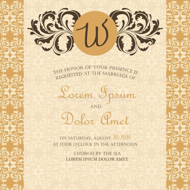 Bröllopinbjudan- eller meddelandekort stock illustrationer