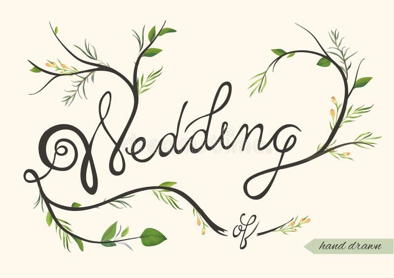 Bröllopinbjudan, inviterar drog beståndsdelen för kortaffischen handen med f royaltyfri illustrationer
