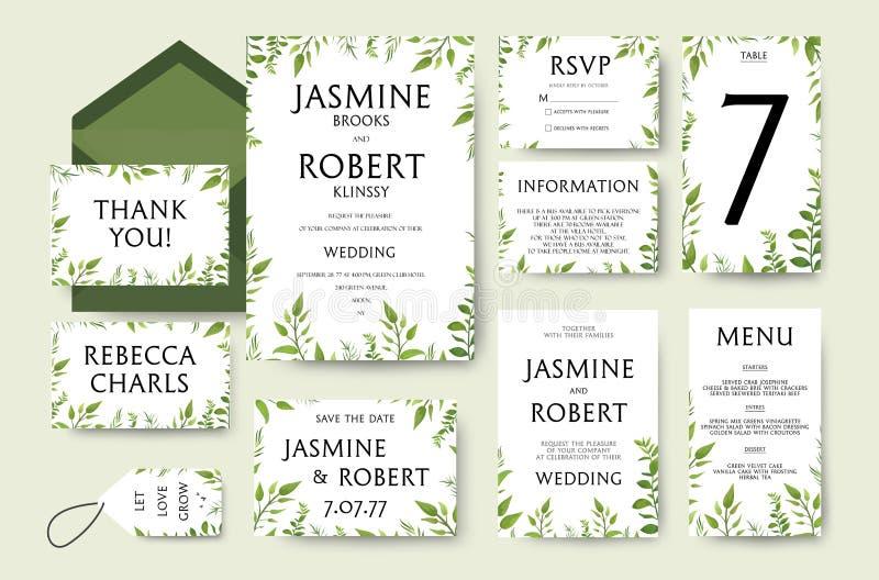 Bröllopinbjudan inviterar kortdesign: trädgräsplanfilialer, leav vektor illustrationer