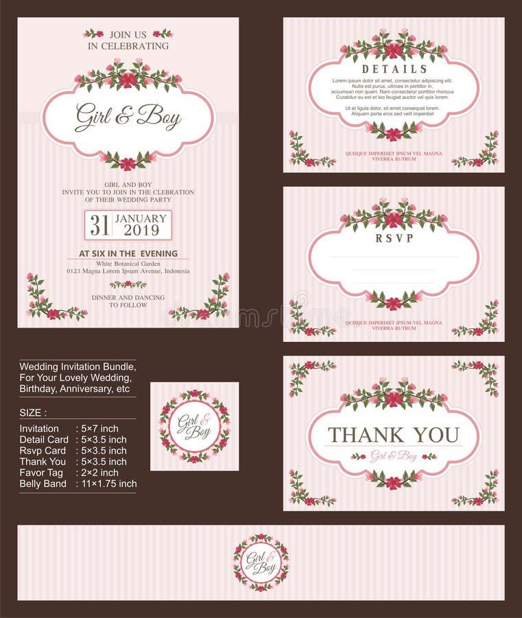 Bröllopinbjudan, med blom- buketter och kransdesign vektor illustrationer