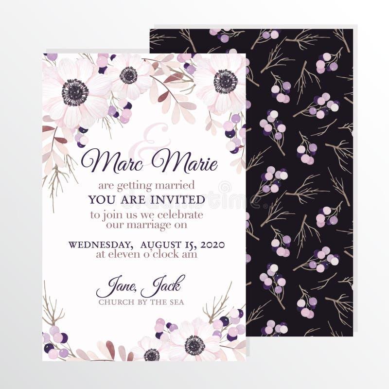 Bröllopinbjudan med blommaanemonen royaltyfri illustrationer