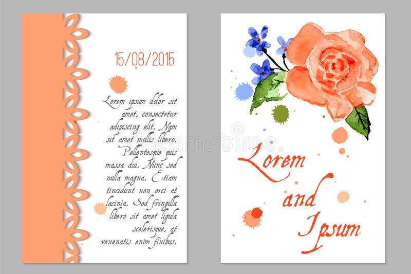 Bröllopinbjudan med blomman steg stock illustrationer