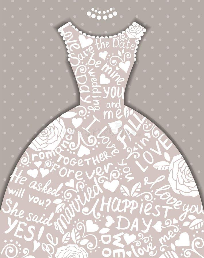 Bröllopinbjudan med den härliga eleganta bröllopsklänningen. royaltyfri illustrationer