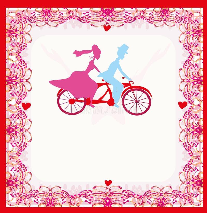 Bröllopinbjudan med den tandema cykeln för brud- och brudgumridning stock illustrationer
