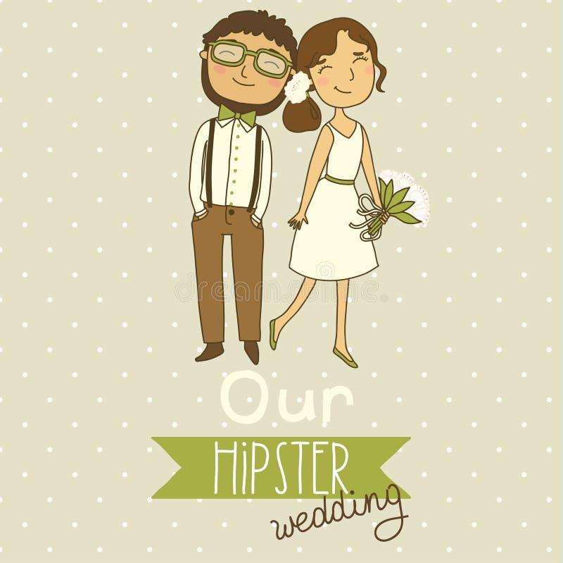 Bröllopinbjudan med ett gulligt par stock illustrationer
