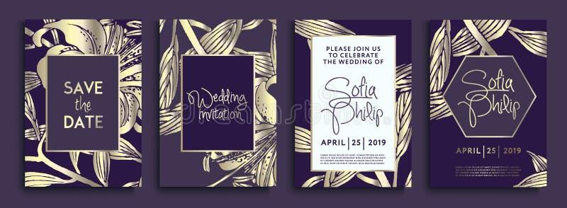 Bröllopinbjudan med guld- blommor och sidor på mörk textur lyxiga guld- bakgrunder, konstnärliga räkningar planlägger, färgrik te stock illustrationer