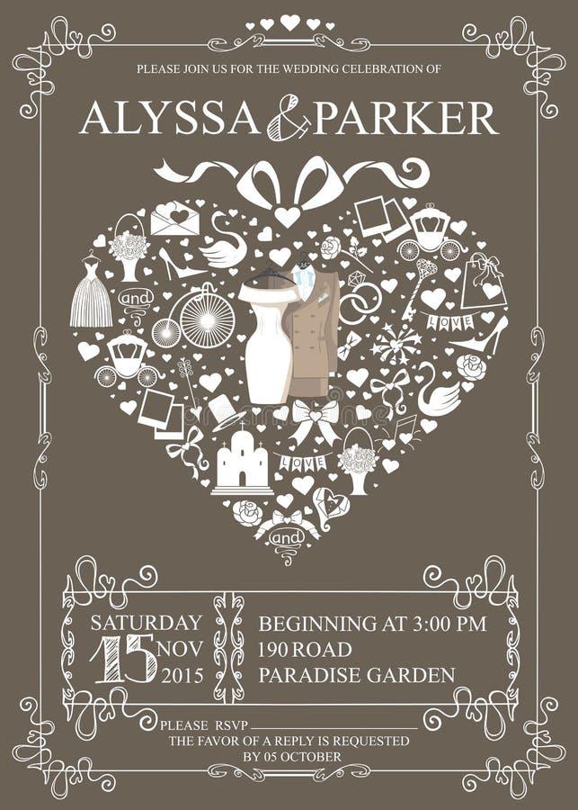 Bröllopinbjudan med hjärtasammansättning bröllop vektor illustrationer
