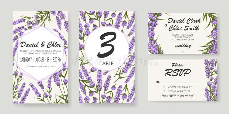 Bröllopinbjudan med lavendel elegant illustrationvektor stock illustrationer