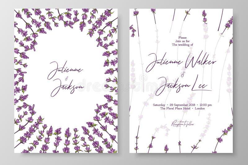 Bröllopinbjudan med lavendlar Cards mallar för räddning datumet, tacka dig att card och att gifta sig inviterar, menyn, reklambla royaltyfri illustrationer