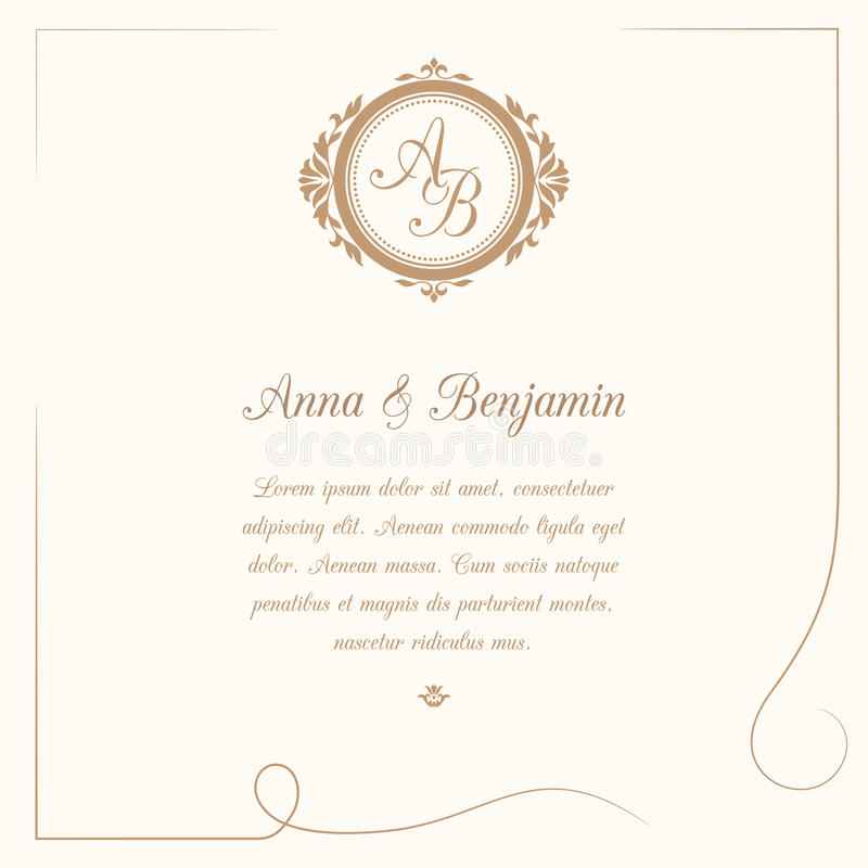 Bröllopinbjudan med monogrammet vektor illustrationer