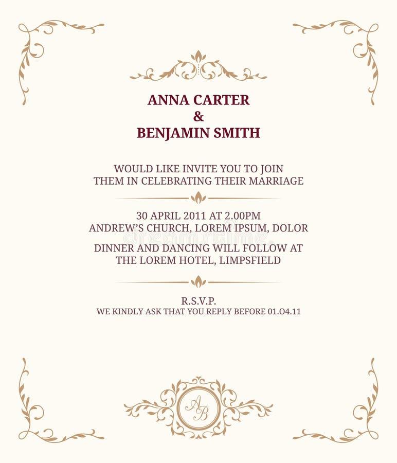 Bröllopinbjudan med monogrammet royaltyfri illustrationer