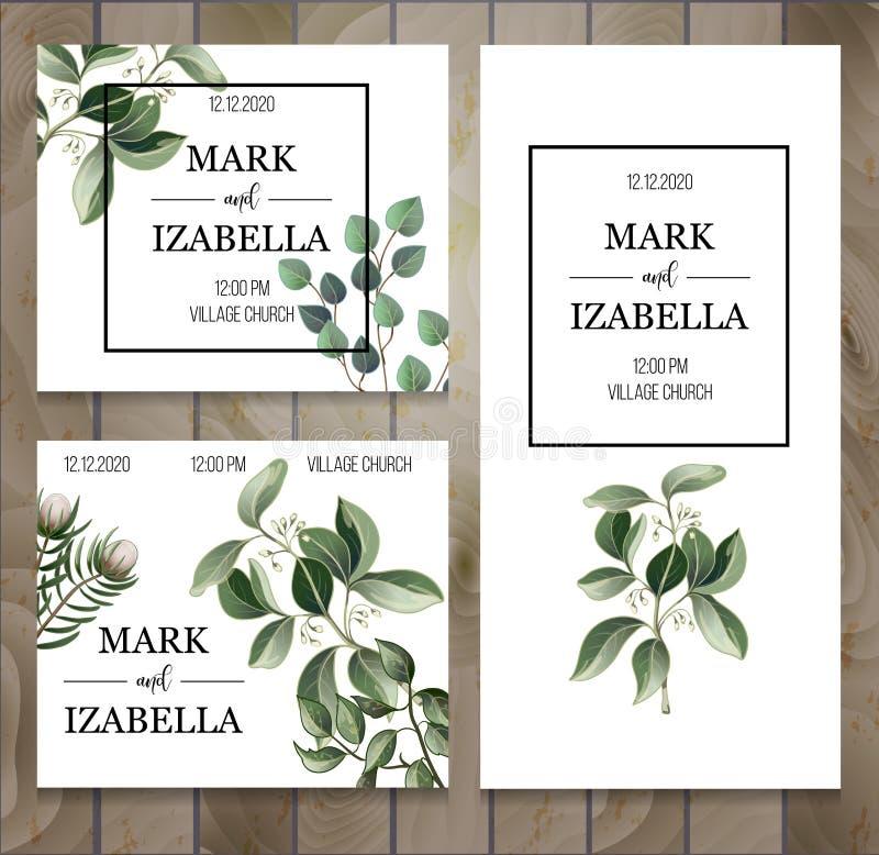 Bröllopinbjudan med sidor, suckulent på träbakgrund Eukalyptus, magnolia, ormbunke och annan vektorillustration royaltyfri illustrationer