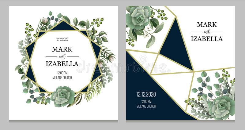 Bröllopinbjudan med suckulenta och guld- beståndsdelar för sidor, i vattenfärg utformar Eukalyptus, magnolia, ormbunke och annan royaltyfri illustrationer