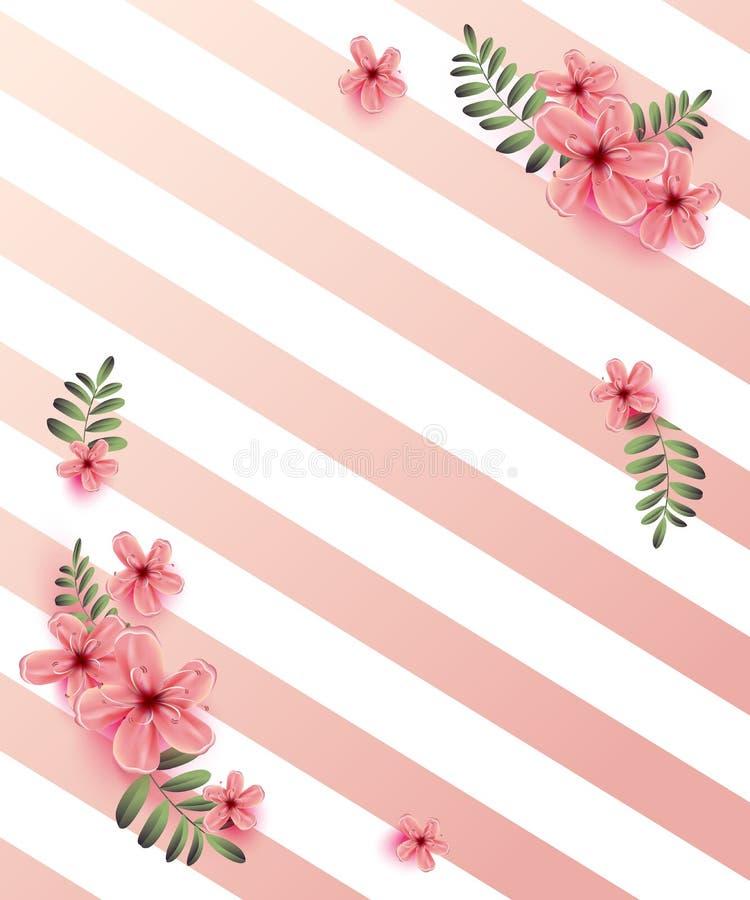 Bröllopinbjudan med våren blommar på rosa bakgrund Cherr royaltyfri illustrationer