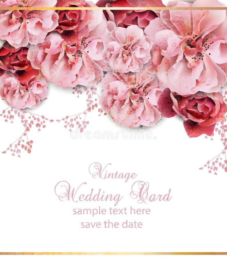 Bröllopinbjudan med vektorn för blom- design Härlig blommaaffisch för tappning Moderiktiga rosa pastelatefärger stock illustrationer