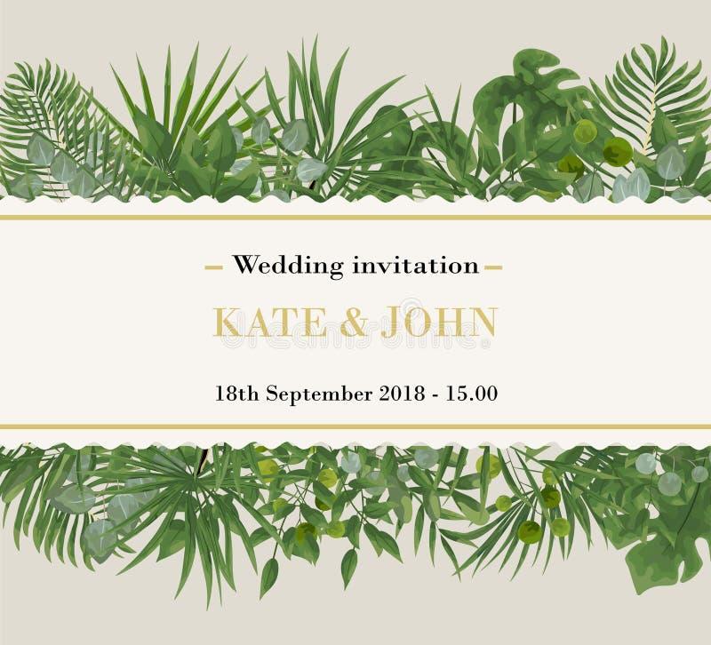 Bröllopinbjudan, modern kortdesign för rsvp Naturlig vektor, bot arkivfoton
