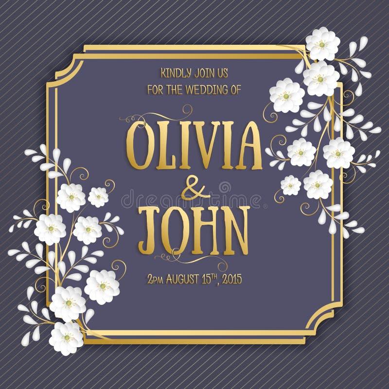 Bröllopinbjudan- och meddelandekort med blom- bakgrundskonstverk Elegant utsmyckad blom- backgroun vektor illustrationer