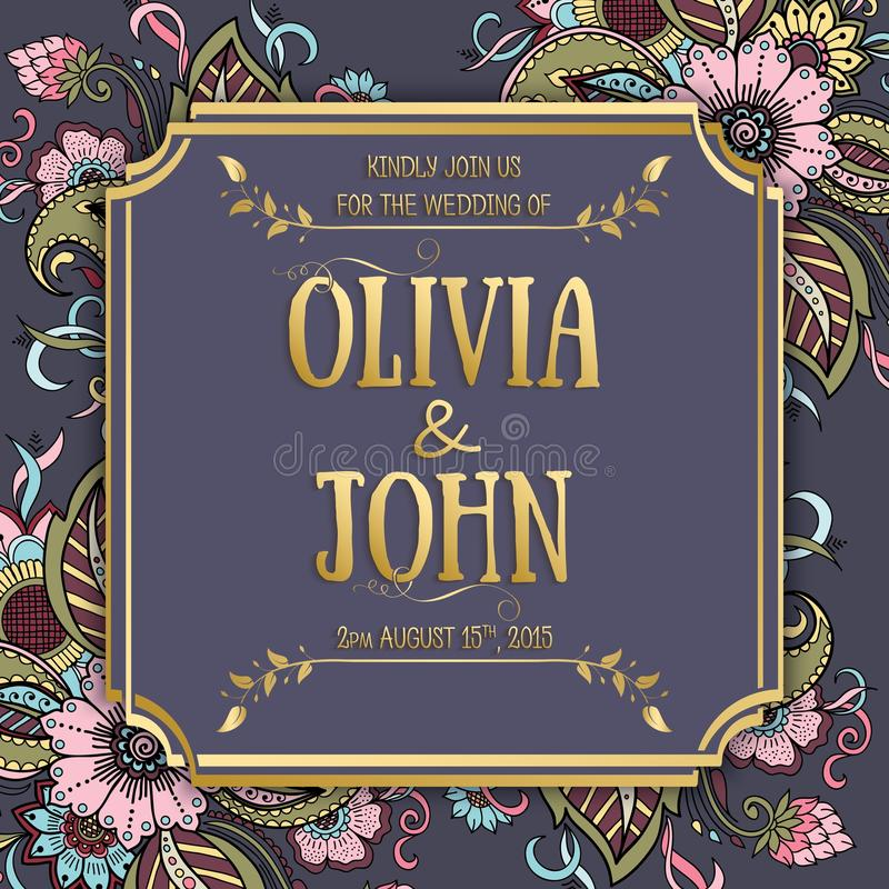 Bröllopinbjudan- och meddelandekort med blom- bakgrundskonstverk Elegant utsmyckad blom- bakgrund royaltyfri illustrationer