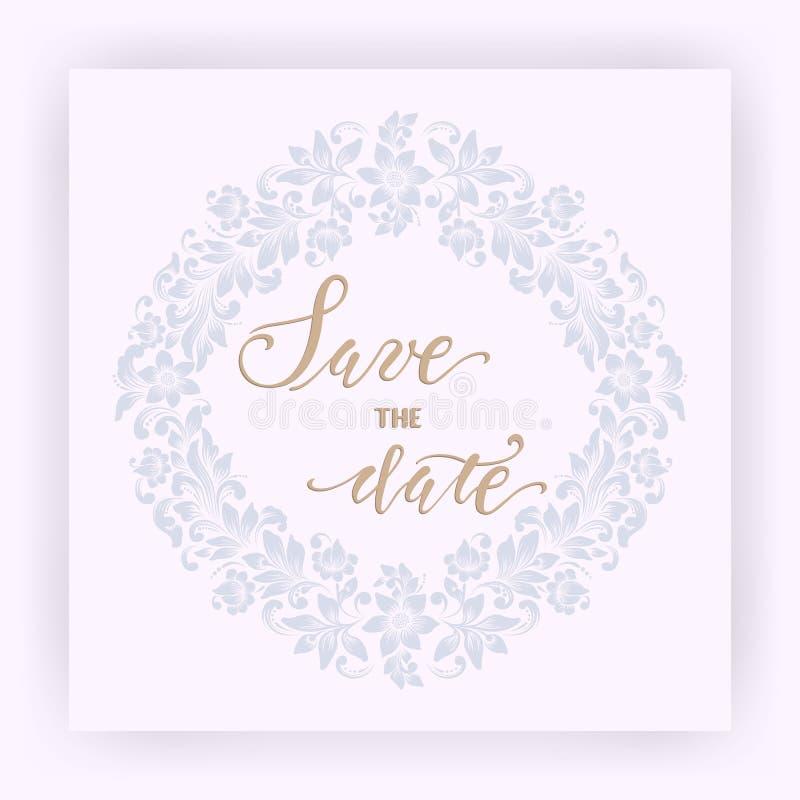 Bröllopinbjudan- och meddelandekort med blom- bakgrundskonstverk Elegant utsmyckad blom- bakgrund stock illustrationer