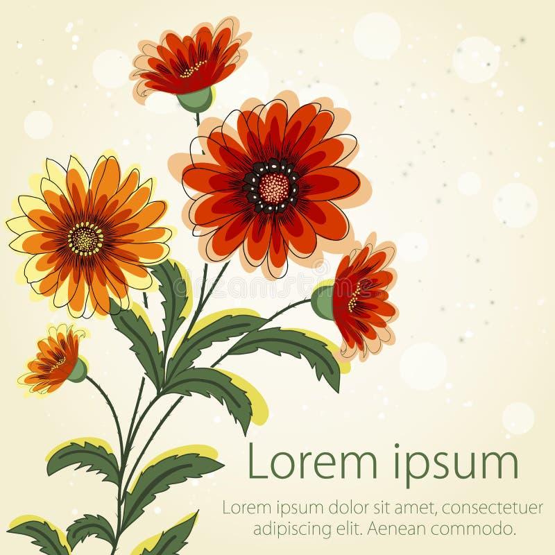 Bröllopinbjudan- och meddelandekort med blom- bakgrundskonstverk Elegant utsmyckad blom- bakgrund blom- vektor illustrationer