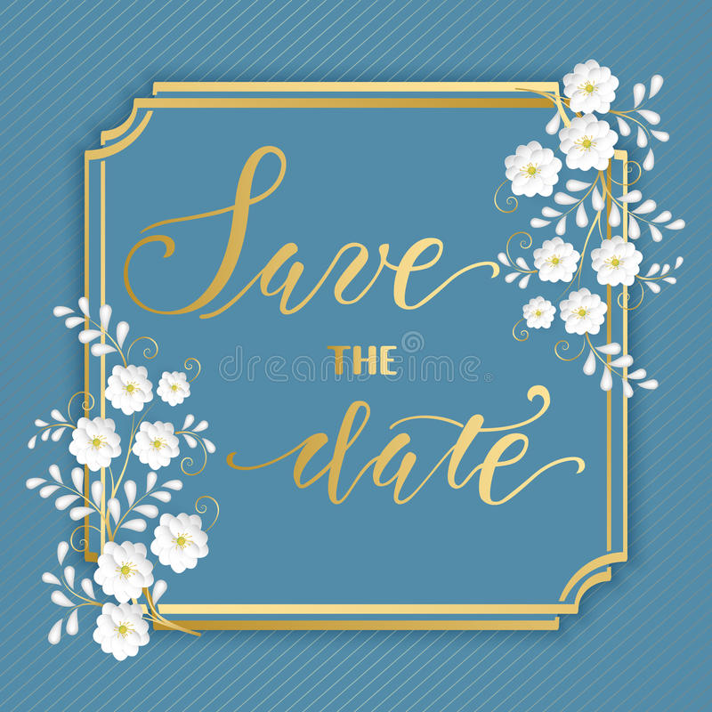 Bröllopinbjudan- och meddelandekort med den blom- ramen Elegant utsmyckad gräns med handskriven text datumet sparar stock illustrationer