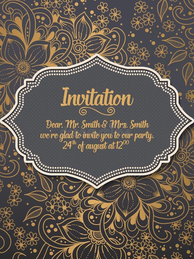 Bröllopinbjudan- och meddelandekort med prydnaden i arabisk stil Arabesquemodell stock illustrationer