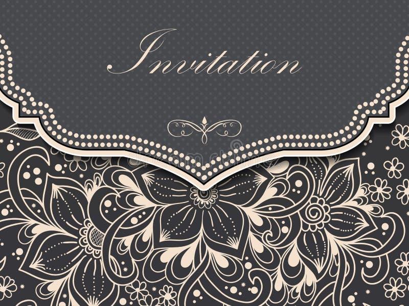 Bröllopinbjudan- och meddelandekort med prydnaden i arabisk stil Arabesquemodell E royaltyfri illustrationer