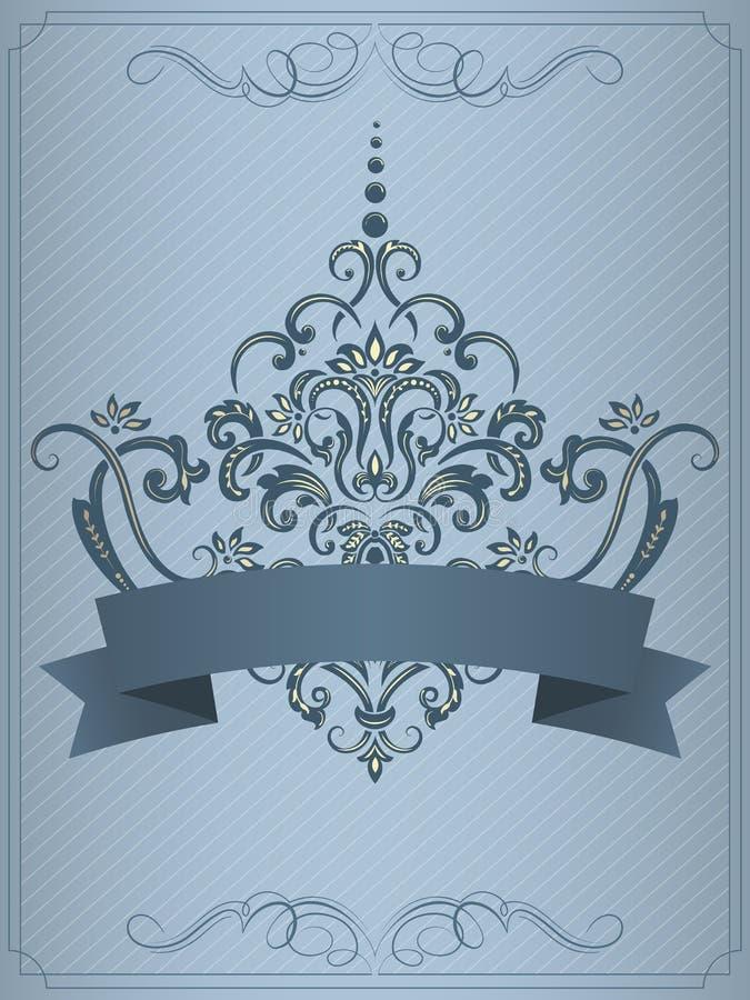 Bröllopinbjudan- och meddelandekort med tappningbakgrundskonstverk Elegant utsmyckad damast bakgrund vektor illustrationer