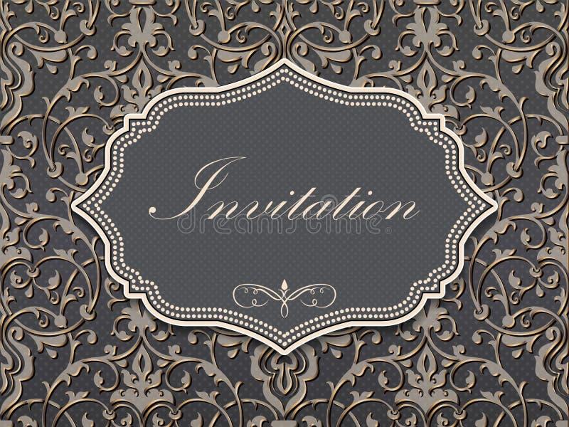 Bröllopinbjudan- och meddelandekort med tappningbakgrundskonstverk Elegant utsmyckad damast bakgrund stock illustrationer