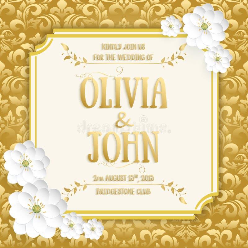 Bröllopinbjudan- och meddelandekort med tappningbakgrundskonstverk Elegant utsmyckad damast bakgrund royaltyfri illustrationer