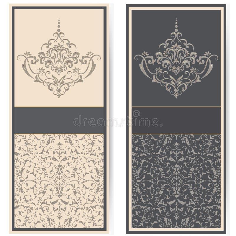 Bröllopinbjudan- och meddelandekort med tappningbakgrundskonstverk Elegant utsmyckad damast bakgrund E stock illustrationer