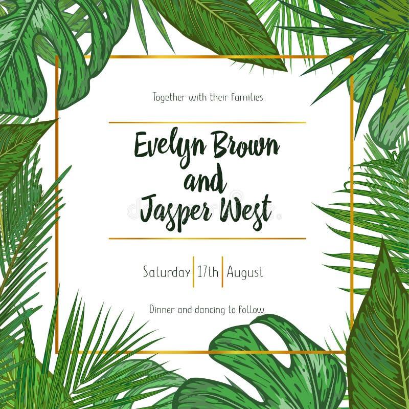 Bröllopinbjudan som är blom- inviterar kortdesign med grön tropica vektor illustrationer