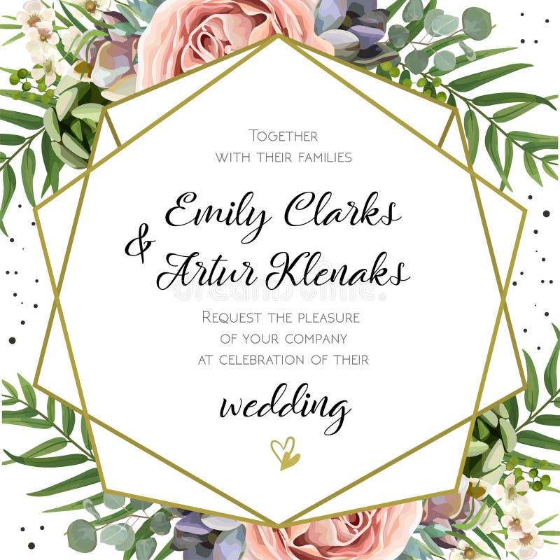 Bröllopinbjudan som är blom- inviterar kortdesign: Persikalavendelpi stock illustrationer