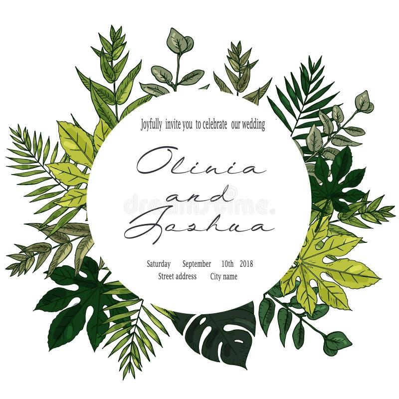 Bröllopinbjudan som är blom- inviterar tackar dig, modern kortdesign för rsvp: grön tropisk palmbladgrönska stock illustrationer