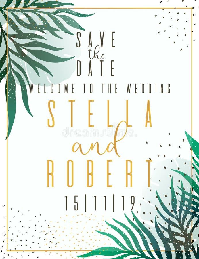 Bröllopinbjudan som är blom- inviterar tackar dig, modern kortdesign för rsvp: grön tropisk palmbladgrönska förgrena sig den deko vektor illustrationer