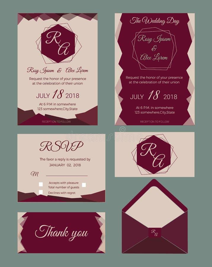 Bröllopinbjudan, sparar datumet, RSVP-kort, tacka dig att card, gien stock illustrationer