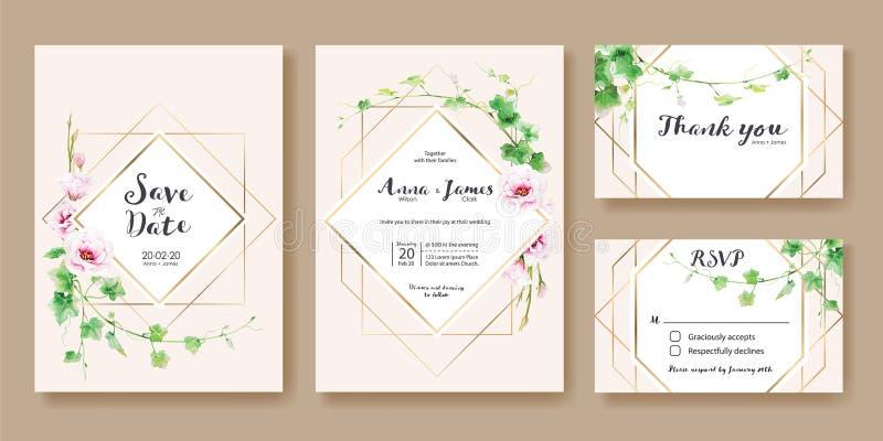 Bröllopinbjudan, sparar datumet, tacka dig, mall för rsvpkortdesign vektor Grönskamurgröna, rosa Lisianthus blomma stock illustrationer