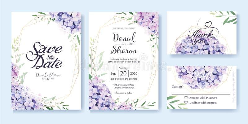 Bröllopinbjudan, sparar datumet, tacka dig, mall för rsvpkortdesign vektor vanlig hortensiablommor, olivgröna sidor vattenfärg fö royaltyfri illustrationer