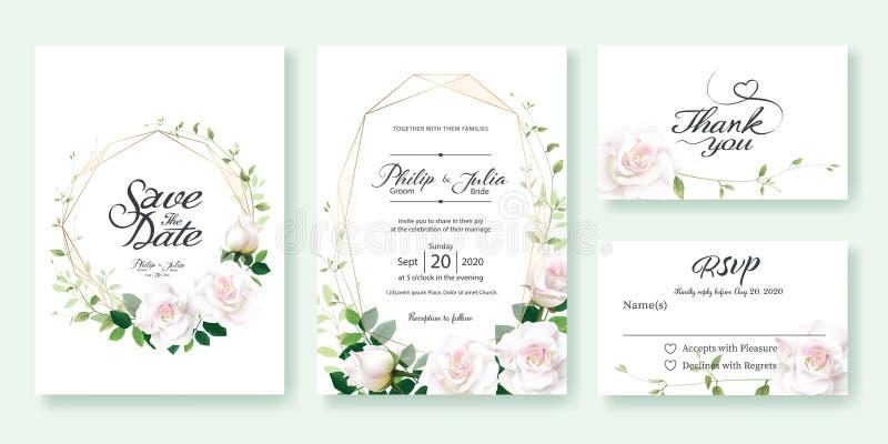 Bröllopinbjudan, sparar datumet, tacka dig, mall för rsvpkortdesign vektor Vit rosa blomma, citronblad, murgrönasidor royaltyfri illustrationer
