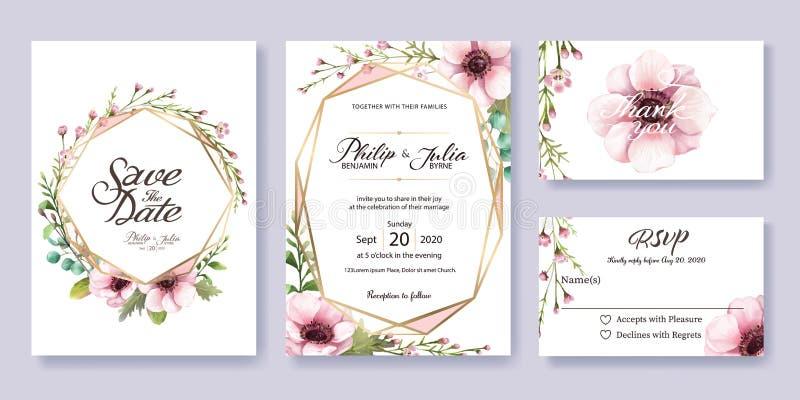 Bröllopinbjudan, sparar datumet, tacka dig, rsvpkortmall royaltyfri illustrationer