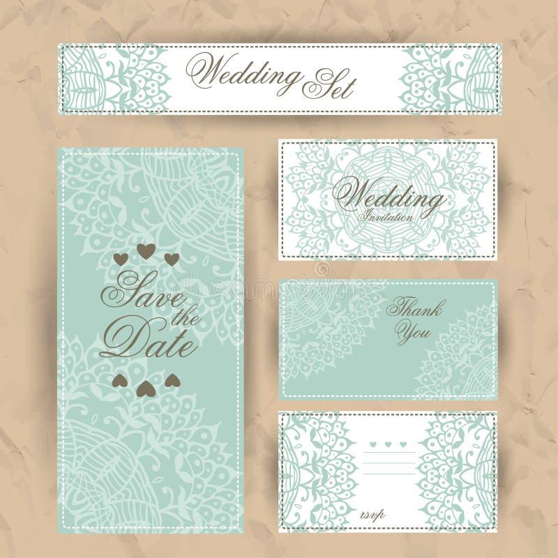 Bröllopinbjudan, tacka dig att card, sparar datumkorten RSVP-kort stock illustrationer