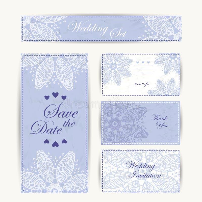 Bröllopinbjudan, tacka dig att card, sparar datumkorten RSVP-kort royaltyfri illustrationer