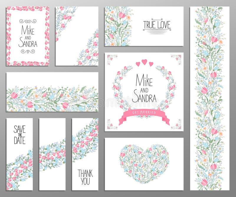 Bröllopinbjudan, tacka dig att card, sparar datumkorten Uppsättning RSVP-kort royaltyfri illustrationer