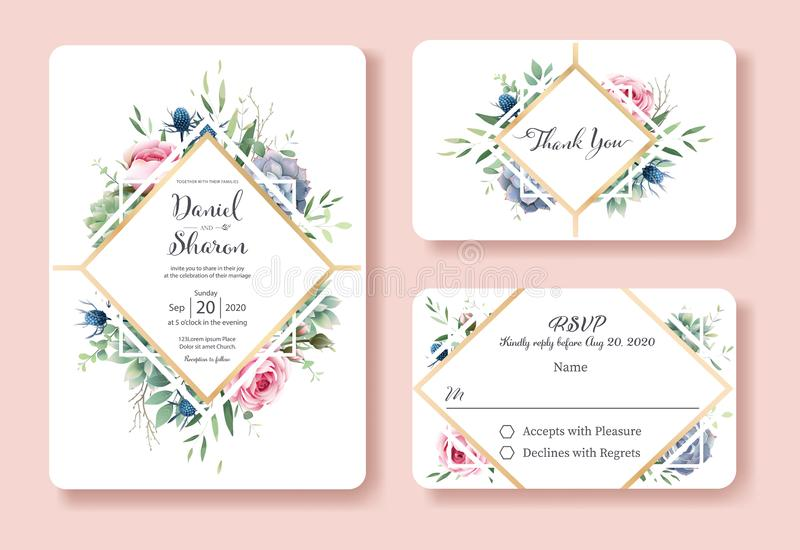 Bröllopinbjudan, tacka dig, mall för rsvpkortdesign Drottningen av Sverige steg blomman, sidor, suckulenta växter vektor stock illustrationer