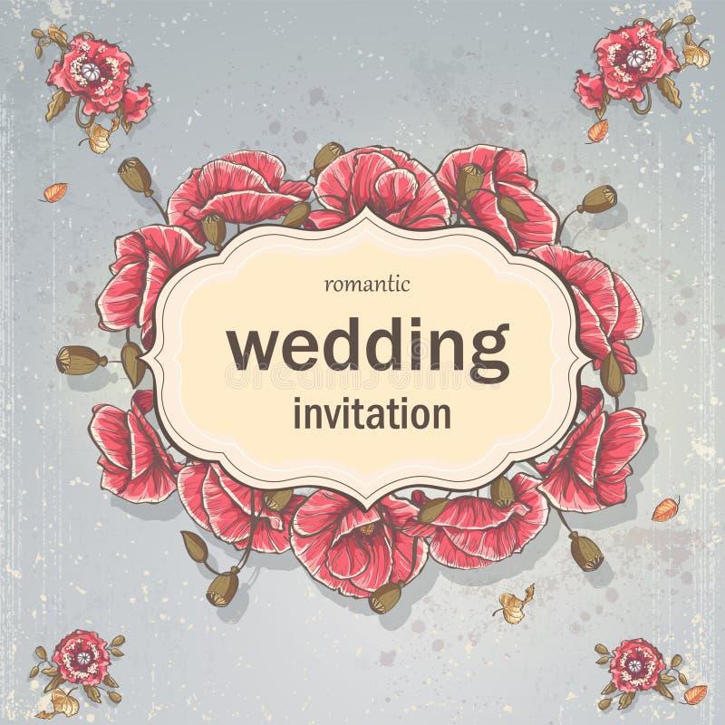 Bröllopinbjudankort för din text på en grå bakgrund med vallmo vektor illustrationer