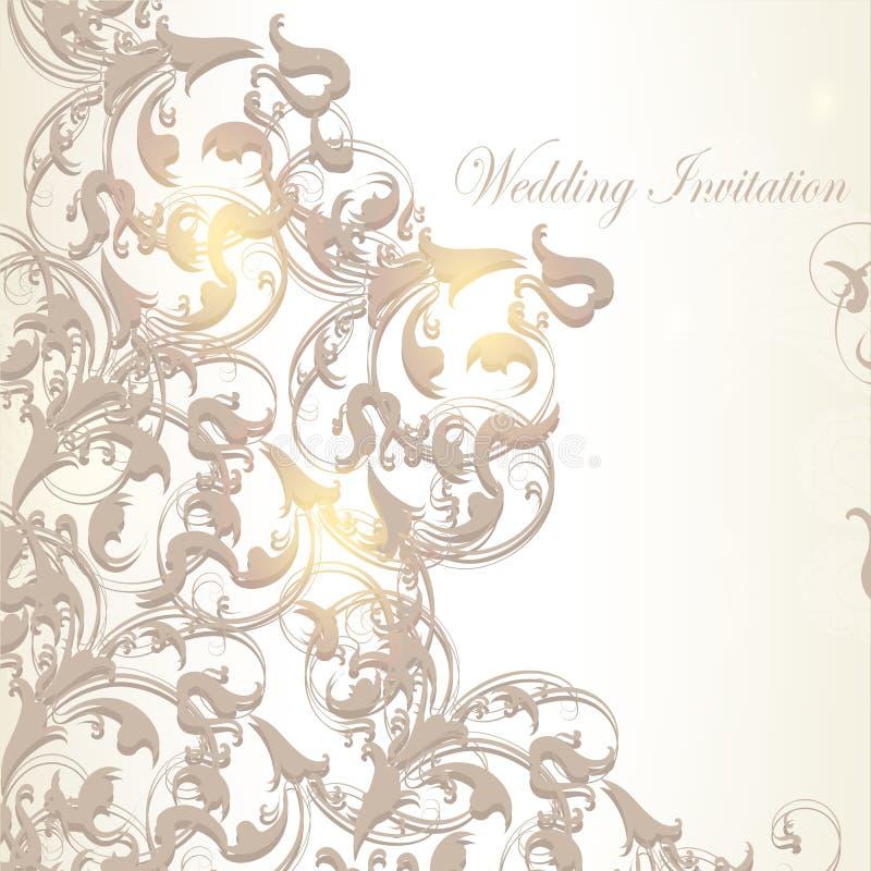 Bröllopinbjudankort i tappningstil royaltyfri illustrationer