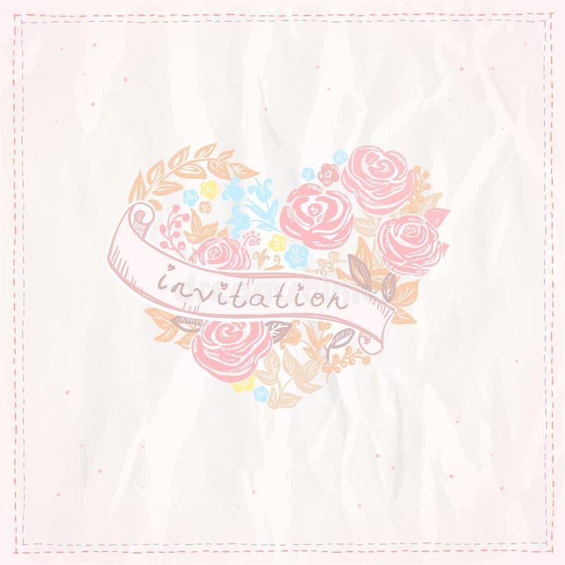 Bröllopinbjudankort med blom- hjärta och ribb vektor illustrationer
