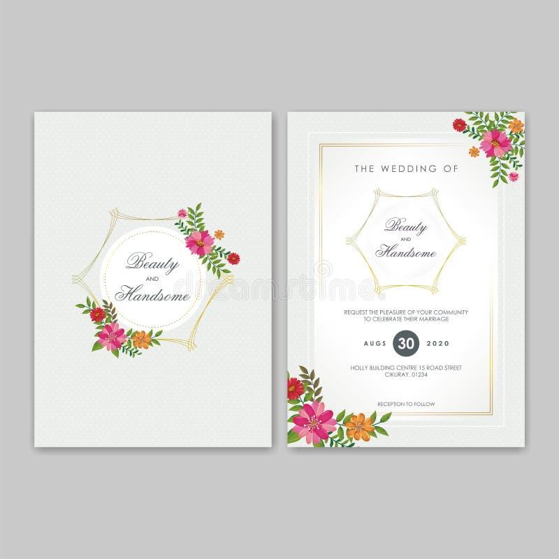 Bröllopinbjudankort med blom- prydnader vektor illustrationer